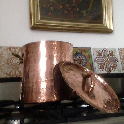 Antique Hand Forged Copper Stock Pot