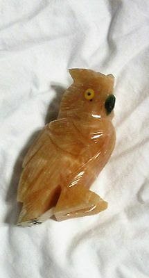 Owl Stone Bird Detailed Carving Handcrafted Brazil