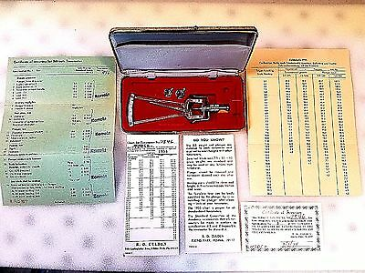 Schioetz Tonometer  - Charts & Instructions, Calibration Scale - Vintage 1955