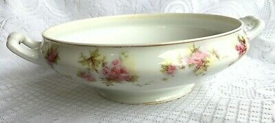 1900-1920 Mark Silesia two Handled Serving Dish pink flowers (748)