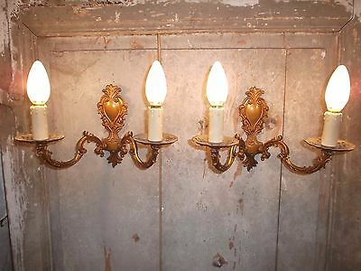 French a pair of  gold bronze wall light sconces classic detailed vintage