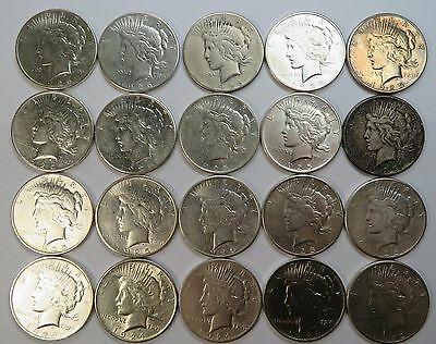 x20 PEACE Dollars FULL ROLL TUBE Mix Date Silver $1 US Coin LOT #11666BB