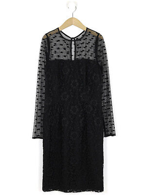 Reiss Womens Black Lace Diana Dress Size 12