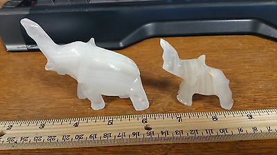 Hand Carved Quartz Elephants Mother and Baby Set