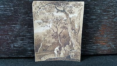 Antique 1800-1899 original brown ink wash drawing painting after Old Master