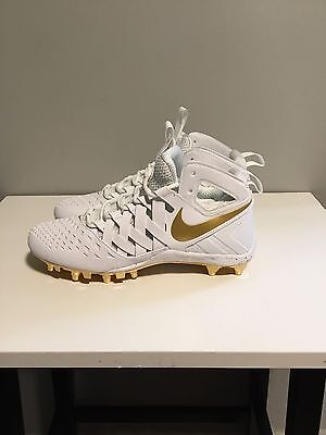 best service 20537 0eb22 BRAND NEW Nike Huarache V Men s Lacrosse Cleats White Metallic Gold 807142- 170