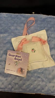 Tooth Fairy Linen Pillow with pink Bows and Guardian Angel Pin