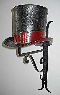 Iron Wall Mount Bracket Decorative Tin Top Hat Trade Sign * Hat Shop