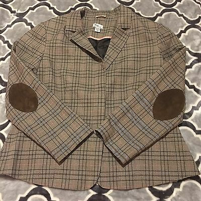 Mimi Maternity Brown And Pink Plaid Button Down Blazer Jacket Size Medium
