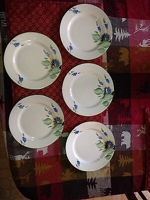 Four Crown Devon Fielding's Pattern# A688 Blue Flowers/Green Trim Plates 6 7/8""