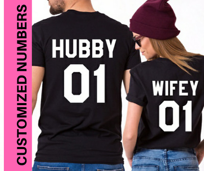 Hubby Wifey Tshirt Couple matching cute T-shirts just married St Valentine Gifts