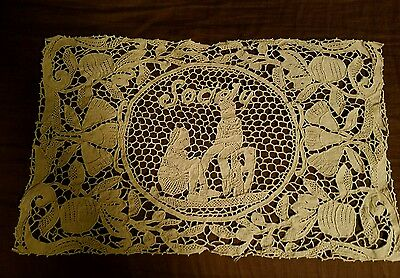 12  Antique Figural Needle Lace  Placemats & Table Runner Rare Society Logo