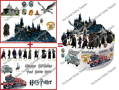Personalised Harry Potter Hogwarts Stand-Up Edible Birthday Cake Scene Topper