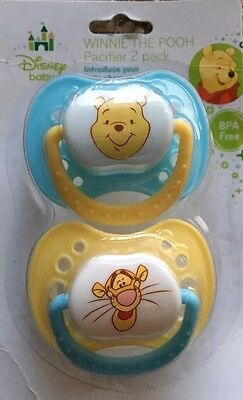 Disney Baby- 2 PACK Winnie The Pooh & Tigger pacifier blue/yellow BPA FREE