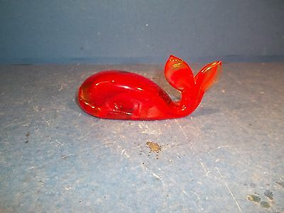 Gorgeous Red Glass Whale Figurine