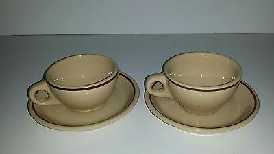 Vintage Buffalo China Restaurant Ware 2  6 oz cups and saucers Tan Brown Stripe