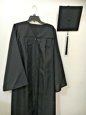 Brand New  Black Graduation  Gown. Cap & Tassel , 2017  Matte Set,