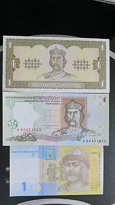 Ukraine 1992-2006 Lot Of 3 Unc Banknotes 1 Gryven.