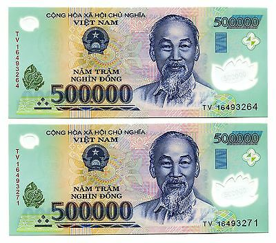 1 Million VietNam dong polymer Currency 2 x 500,000 500000 dong UNCIRCULATED