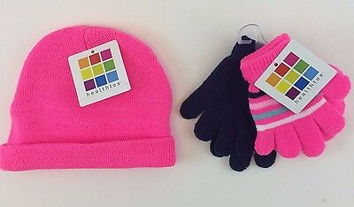 Healthtex Toboggan & Gloves Toddler Girls- Soft Knit One Size Fits All-Pink