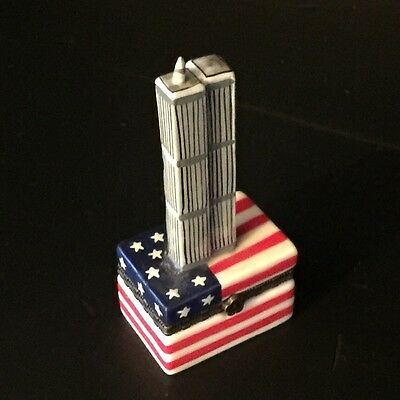 Collectible Twin Towers World Trade Center Porcelain Trinket Box RARE
