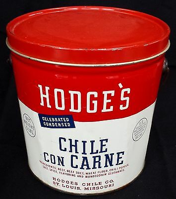 "Vintage Hodge's Chile Con Carne 5 LB Tin Can Bucket (6"" Tall) St. Louis, MO"