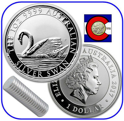 2017 Australia Swan 1 oz. 0.9999 Silver - 10 Coin 1/2 Roll - 1st in New Series