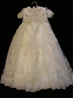 Newborn Vintage Infant Baptism Dresses Soft Lace Baby Ivory Christening Gown