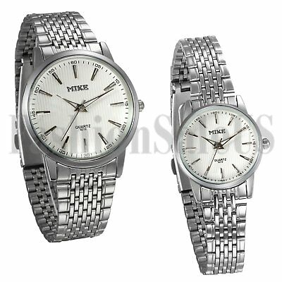 Mens Women Couples Silver Tone Stainless Steel Analog Quartz Promise Wrist Watch