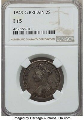 Great Britain: Victoria Godless Florin 2 Schilling 1849 F15 NGC,...