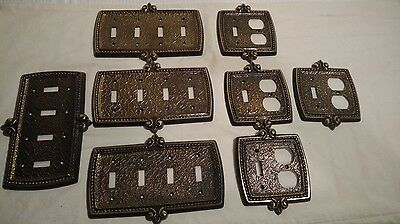 Vintage lot of 8 Amerock metal switch and outlet covers
