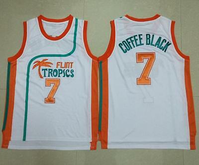 3bff7a23b5c Vintage Basketball Jersey Semi Pro Coffee Black 7# Flint Tropics All  Stitched