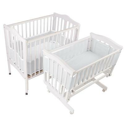 Crib Liner Breathable Baby Mesh  for Portable and Cradle Cribs White New