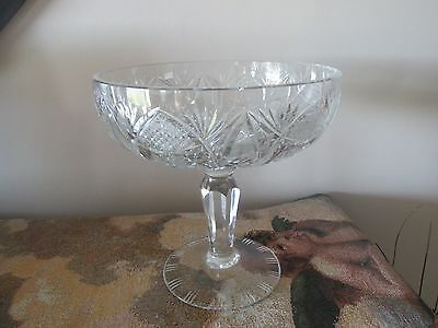 American Brilliant Cut Crystal Glass Compote Footed Fruit Bowl