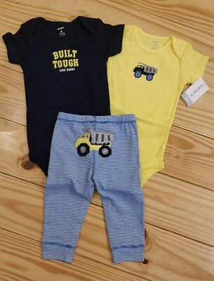 Baby Boy 3 Pc Outfit Set. Size 9 Months. Carter's. Construction Trucks. NWT!
