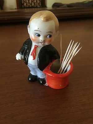 Vintage Made in Japan Art Deco Boy Magician Top Hat Toothpick Holder RARE