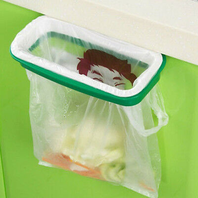Green Kitchen Trash Garbage Bag Rack Attach Holder Cabinet Cupboard Portable