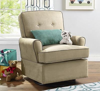 Nursery Rockers and Gliders Nursing Chair Swivel Microfiber Beige Baby Infant