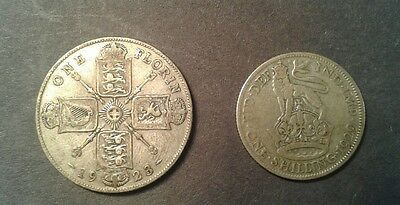1929 Great Britain 1 Shilling & 1923 Great Britain One Florin Two Silver Coins