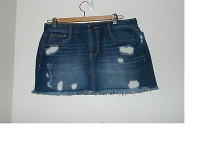 Women's Old Navy Deconstructed  Destroyed Denim Mini Skirt Size8 New With Tags