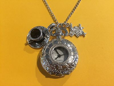 Steampunk Alice in Wonderland Quartz Watch Necklace with Rabbit & Cup Charms