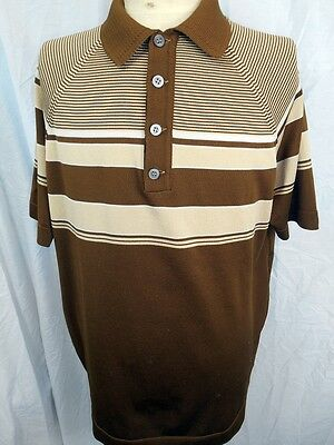 Vintage 1960s 70s Commander Brown White Striped Polyester Polo Shirt XL Sharpie