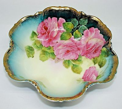 Antique Bowl Tirschenreuth Bavaria Hand Painted Pink Cabbage Roses Gilded Trim