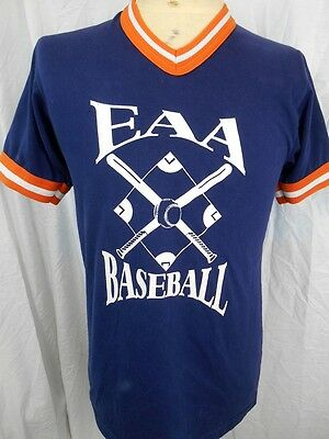 Vintage 80's Blue Orange Poly/Cotton USA Baseball Collegiate Tight fit T-shirt S