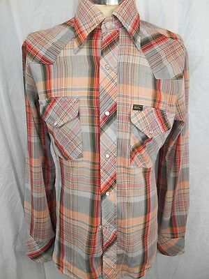 Vintage 70s Red White Grey Plaid Poly/Cotton Miller Western Shirt Pearl Snaps L