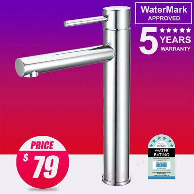 WELS ROUND TALL HIGH Basin Mixer Tap Vanity Sink Shower Spout Faucet Chrome Bath
