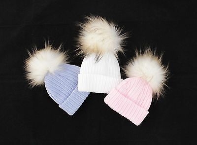 6-12 Months Baby Faux Raccoon Fur Pompom Hat/Bubble Hat/White/Blue/Pink