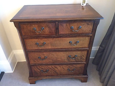 two over three chest of drawers antique style oak mahogany inlaid cross banded