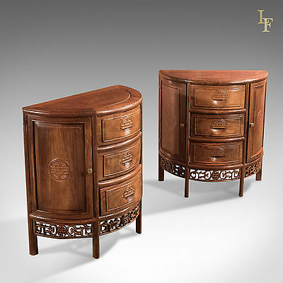 Pair of Mid-Century Chinese Rosewood Demi-Lune Cabinets Night Stands Side Tables