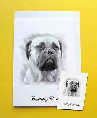 Bullmastiff Dog Large A5 Birthday Card & Gift Tag with a choice of 5 verses